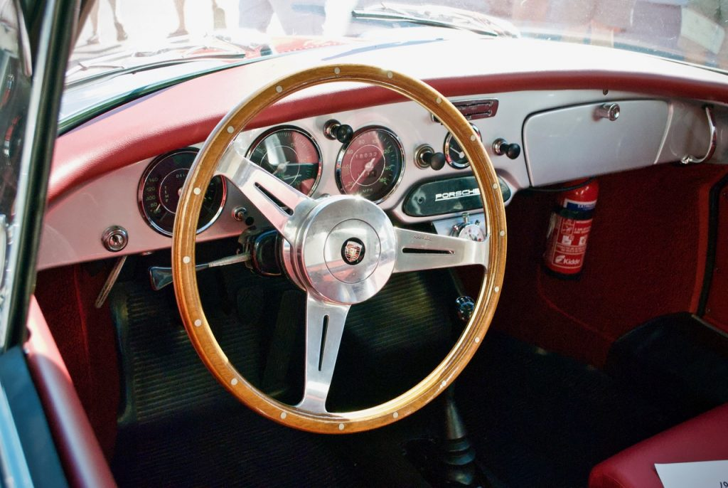 Porsche 356 interior at Goodwood Breakfast Club